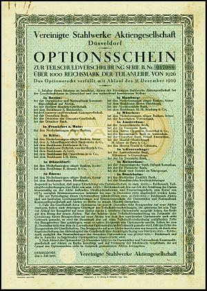 Vereinigte Stahlwerke - Warrant of the Vereinigte Stahlwerke, issued 1926