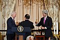 Vice President Biden, French President Hollande, and Secretary Kerry Toast the U.S.-France Relationship (12465713385).jpg