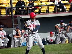 Victoria Seals - Jamar Hill bats during the team's inaugural season