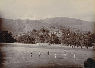 Almora - View of Almora, with soldiers of 3rd Gurkha Rifles, 1895.