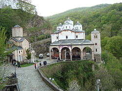 Osogovo Monastery with the Church of St. Joachim of Osogovo to the right and the Church of the Holy Mother of God to the left