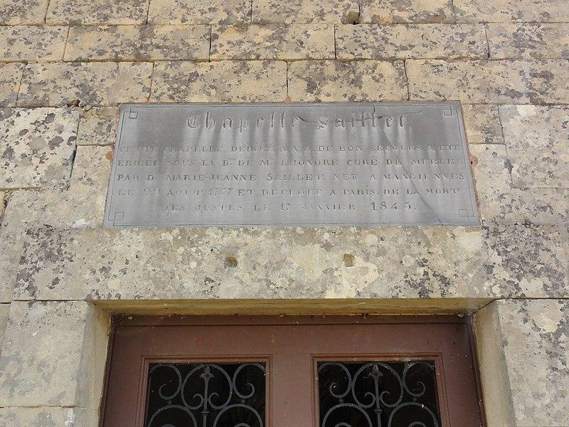 Villers-lès-Mangiennes (Meuse) chapelle Saillet plaque