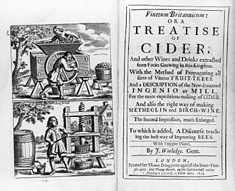 Cider in the United Kingdom - Title page of second edition of Vinetum Britannicum, 1678