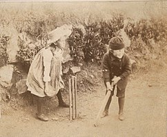 Virginia and Adrian Stephen playing cricket at Talland House in 1886