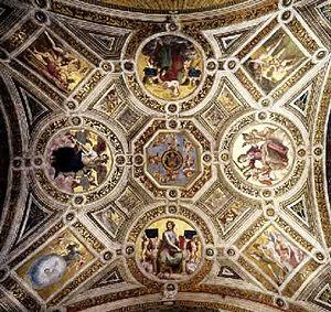Virtudes, de Rafael, na Stanza della Segnatura...
