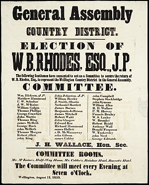 New Zealand general election, 1853 - Election poster in support of William Barnard Rhodes, standing for Wellington Country