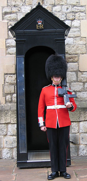Welsh Guards - Welsh Guardsman outside the Jewel House at the Tower of London.
