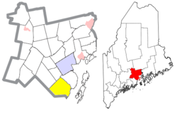Location of Lincolnville (in yellow) in Waldo County and the state of Maine