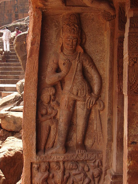 File:Wall relief2 at the Vaishnava cave temple no. 2 in Badami.JPG