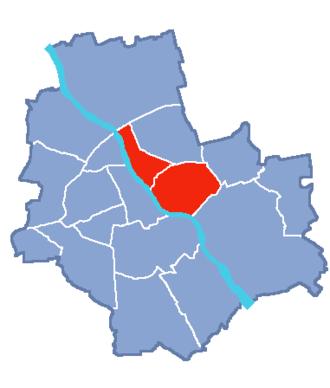 Praga - Locator map of Praga-Północ and Praga-Południe
