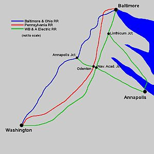 Washington, Baltimore and Annapolis Electric Railway - Image: Washington, Baltimore and Annapolis Railroad line map