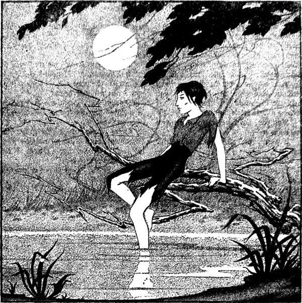 A boy in torn clothes, sitting on a branch, dangles one foot in a lake; all under a full moon.