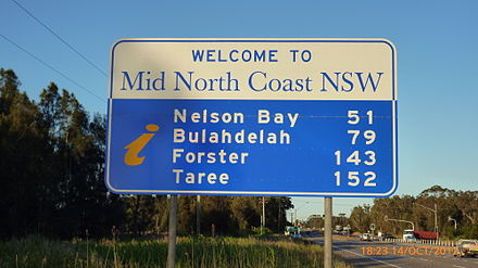 Despite being geographically in the Hunter Region, Port Stephens Council includes itself in the Mid North Coast for commercial purposes. This sign, welcoming travellers to the Mid North Coast, is only 900 m (2,953 ft) from the Hunter River on the Pacific Highway at Tomago. Welcome to Mid North Coast at Tomago.jpg