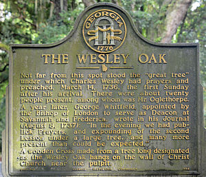 St. Simons, Georgia - Historical marker about the Wesley Oak