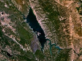 photo satellite du lac Berryessa selon la NASA