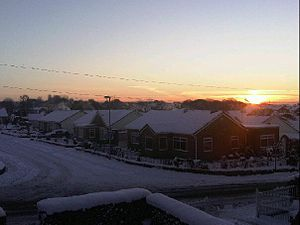 Whitkirk - A view over Whitkirk in winter, looking towards Colton