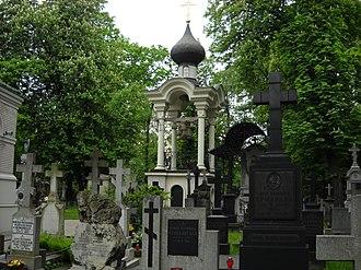 Orthodox Cemetery, Warsaw - Image: Widok na dzwonnicę cerkwi jana klimaka