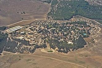 Megiddo, Israel - Aerial view of Megiddo from the east.