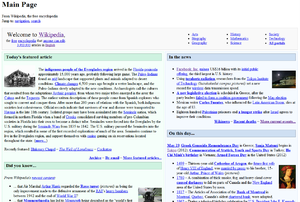 Flash of unstyled content - FOUC when loading Wikipedia's main page.