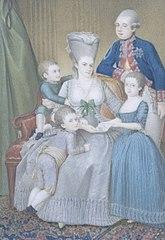 Willem V (1748-1806), prins van Oranje-Nassau, met zijn vrouw Frederika Sophia Wilhelmina van Pruisen en hun kinderen Frederica Louisa Wilhelmina, Willem Frederik en Willem George Frederik