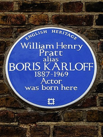 Boris Karloff - English Heritage Blue plaque marking Karloff's birthplace at 36 Forest Hill Road, London