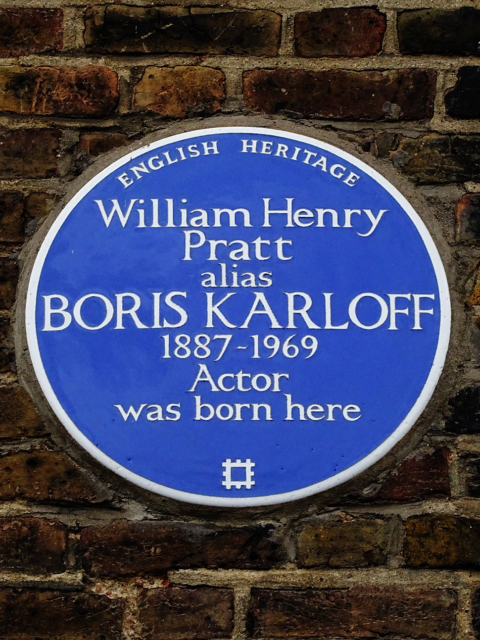 William Henry Pratt alias BORIS KARLOFF 1887-1969 Actor was born here