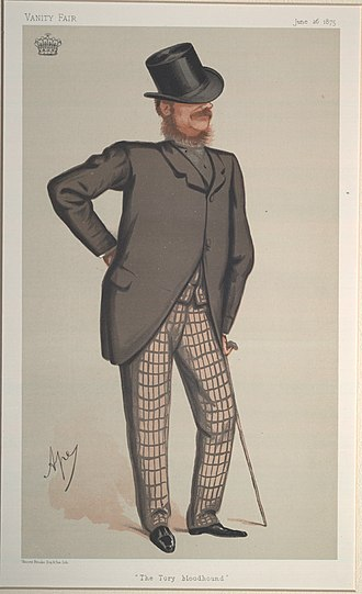 """William Nevill, 1st Marquess of Abergavenny -  """"The Tory bloodhound"""". Caricature of Lord Abergavenny by Ape published in Vanity Fair in 1875."""
