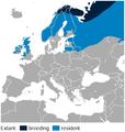 Willow Ptarmigan Lagopus lagopus distribution in Europe map.png