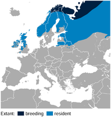 Willow Ptarmigan Lagopus lagopus distribution in Europe map.png