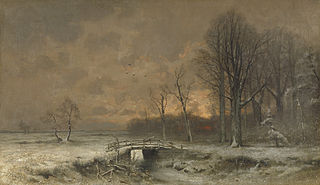 Winter Scene with the Sun Setting Behind Trees