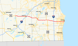 Wisconsin Highway 20 - Image: Wis 20 map