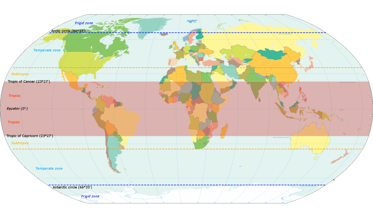 FileWorld Map Indicating Tropics And Subtropicspng Wikimedia - World map with latitudes