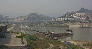 Wanzhou District - The Yangtze River / Three Gorges reservoir at Wanzhou City