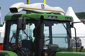 Precision agriculture - Yara N-Sensor ALS mounted on a tractor's canopy – a system that records light reflection of crops, calculates fertilisation recommendations and then varies the amount of fertilizer spread