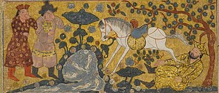 Persian miniature of Yazdegerd I killed by a white horse
