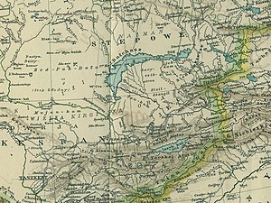 "Zhetysu - A 1903 map in Polish showing both the large Semirechye Oblast (Semirjeczeńsk in Polish) and its neighbors. The map also shows a much smaller historical area labeled Siedmiorzecze (Polish translation for Russian ""Semirechye"", i.e. Zhetysu proper) southeast of Lake Balkhash"
