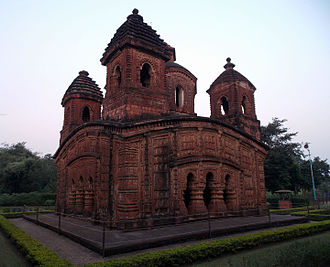 Panchchura Temple in Bishnupur, one of the older examples of the terracotta arts of India. 'Panchchura' temple, Bishnupur.jpg