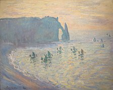 'The Beach at Étretat' by Claude Monet, 1885-86, Pushkin Museum.jpg