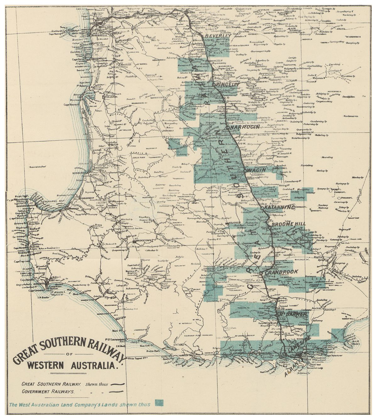 Great Southern Railway Western Australia Wikipedia - Western australia map with towns