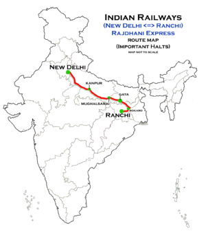 (New Delhi - Ranchi) Rajdhani express route map.png