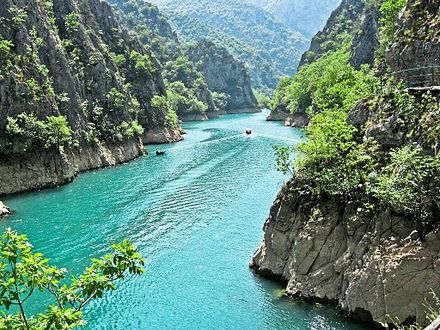 The Matka Canyon and the Treska, on the western edge of the City of Skopje. Kanjon.jpg