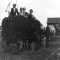 באר טוביה ( קסטינה) איכרים יהודים יושבים על עגלה עמוסה בחציר ( 1914) .-PHG-1025006.png