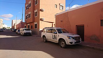 United Nations Mission for the Referendum in Western Sahara - MINURSO cars in Laayoune.