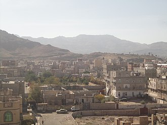 Sarawat Mountains - Mountains to the west of southern Sana'a, Yemen. Note that Jabal An-Nabi Shu'ayb, the highest mountain in the Arabian Peninsula, is behind the mountain in the background.