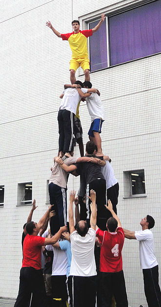 Human tower (gymnastic formation) - Four layers' human tower which almost stands-up. A scene during the development of the gymnastic formation squadron of the Brazil SGI Young Men's Division of Rio de Janeiro in October, 2011