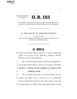 116th United States Congress H. R. 0000183 (1st session) - To clarify the United States interest in certain submerged lands in the area of the Monomoy National Wildlife Refuge, and for other purposes.pdf