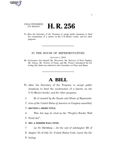 File:116th United States Congress H. R. 0000256 (1st session) - People's Border Wall Fund Act.pdf