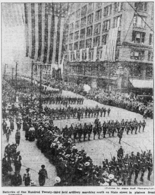 Black and white photo of a parade