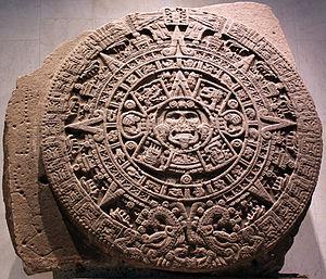 Aztec calendar stone - Image: 1479 Stein der fünften Sonne, sog. Aztekenkalender, Ollin Tonatiuh anagoria