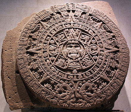 The Aztec Sun Stone, also known as the Aztec Calendar Stone, at National Museum of Anthropology, Mexico City. 1479 Stein der funften Sonne, sog. Aztekenkalender, Ollin Tonatiuh anagoria.JPG